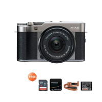 Fujifilm X-A5 kit 15-45 Free SDHC16gb, UV Filter, leathercase, Battery - dark silver