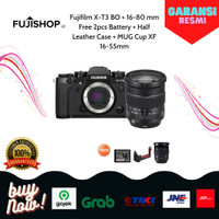 Fujifilm X-T3 BO + 16-80 mm Free 2pcs Battery + Half Case + Mug cup - Hitam