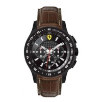Ferrari Scuderia Chronograph Black Dial Brown Leather Mens 0830045