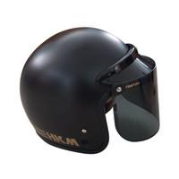 Helm Retro Line Black Doff HKM + Visor Datar