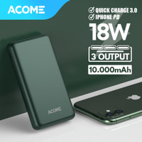 Acome Mini Powerbank 10000 mah 18W PD QC3.0 Dual USB Single Type C