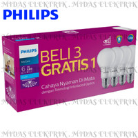 Lampu LED Bulb Philips Paket MyCare Pack 6 Watt W E27 Beli 3 Gratis 1