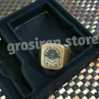 Cincin gibas gold Custom logo ukir Grafir nama kado kotak titanium