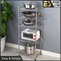 ES Rak Stainless Steel 5 Susun SerbaGuna Rak Dapur Rak Ruang Keluarga