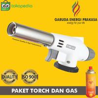 Paket Flame gun/Torch Gas + Gas Kaleng Portable Sun Cook 240gram - Putih