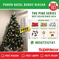 Pohon Natal Murah Gratis Lampu dan Hiasan Natal 5 ft / 150 cm Pine - Snow White