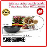 Wajan Panci Fry Wok YOSHIKAWA Marble Ceramic 24CM 24 CM + Lid MT-24-TP