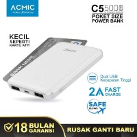 ACMIC C5 5000mAh Mini PowerBank (2A Fast Charge Input & Output)