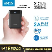 ACMIC D10 10000mAh Mini PowerBank (Digital Display + 2A Fast Charge)