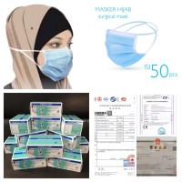 MASKER HIJAB MASKER 3PLY SURGICAL MASK 3 PLY ISI 50pc bersertifikat CE