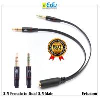 Kabel Splitter Audio Jack 3.5mm Female ke Dual 3.5mm Male HiFi