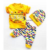 Klik Mds Setelan Baju Anak Bayi Motif Bricks Free Topi / 1 Ukuran