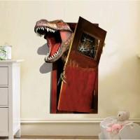 Stiker Dinding / Stiker Kaca / Wall Sticker (Dinosaurus Dobrak Pintu)