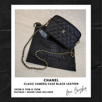 Chanel Clasic Camera Case Black Leather| TAS BRANDED IMPORT WANITA