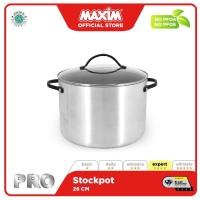 Maxim Pro Panci Stock Pot 26cm Anti Lengket + Tutup Kaca Silver
