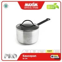 Maxim Pro Panci Sauce Pan 18cm Anti Lengket + Tutup Kaca Silver