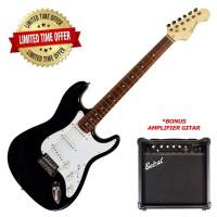 Gitar Elektrik BONUS Amplifier Caraya Classic Stratocaster Black E-200