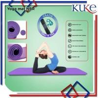 KUKE Matras Yoga Mat NBR 10mm gym Karpet Spons Yogamat FREE TAS - Biru