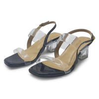 Sepatu wanita hak kaca/sendal heels/ TTJ 004 Black Berkualitas. - 36