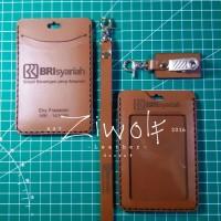 Id card holder kulit / name tag kulit asli / free gravir nama/logo