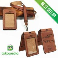 Gantungan ID card holder name tag Kulit sapi asli COSTUM NAMA dan LOGO