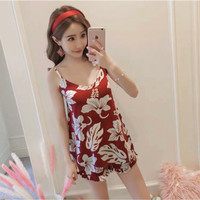 Set Tanktop bra Import / Piyama Sexy Import / Sleepwear Tanktop - Flower Red