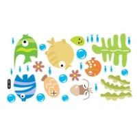 Set Stiker Dekorasi Dinding Motif Ikan Hias Kartun