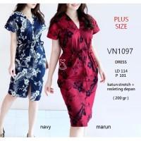 VN1097 - DRESS PESTA BATIK PINGGANG SERUT DRESS BATIK KERJA PLUS SIZE - CREAM