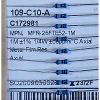 Resistor 1M Ohm 1/4W Metal film YAGEO