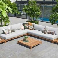 kursi taman sudut sofa kayu jati minimalist