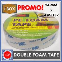 PROMO 1 BOX DOUBLE TAPE BUSA 3m PE FOAM TAPE 24mm x 4 M Meter ORIGINAL