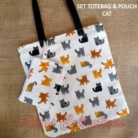 RIENS COLLECTIONS SET TOTEBAG- POUCH KUCING PUTIH