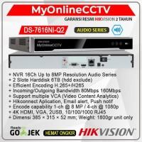 Hikvision DS-7616NI-Q2 NVR IP Camera CCTV 16 Ch 8MP 2 Harddisk