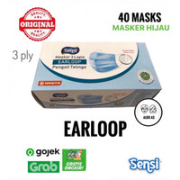 Masker Sensi Earloop isi 40 pcs - Hijau