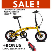 "Sepeda Lipat 16"" EXOTIC EXPLORE 300 Alloy 8Speed - Yellow Red"