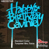 Cake Topper Happy Birthday Custom Name 3D Ucapan Kue Ulang Tahun Nama