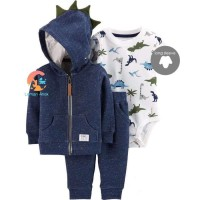 Baby Jumper Set 3 in 1 - Jacket Long Sleeve Jumper & Pants BRONTOSAUS