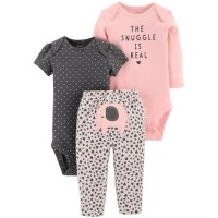 Girl Set Bodysuit & Pants - Jumper Set 3 in 1 (BABY ELEPHANT)