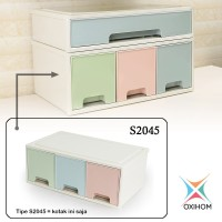 Oxihom S2045 Large 3 Laci Plastik Susun Drawer Storage Stackable
