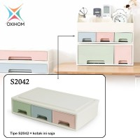 Oxihom S2042 Small 3 Laci Plastik Susun Drawer Storage Stackable