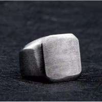 Cincin titanium square kotak cincin pria keren elegant vintage mewah
