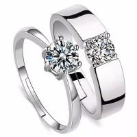 Cincin pasangan Tunangan nikah kawin Berlian pria Wanita Couple Rings