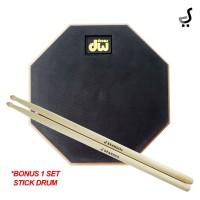 Drum Pad 8 Inch DW Drums BONUS 1 SET Stick Drumpad DPD-48 Hitam STKD
