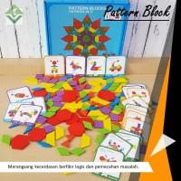Pattern Block Belajar Susun Blok Kayu Puzzle Mainan edukasi