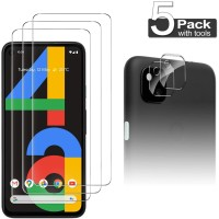 Luibor for Google Pixel 4a Screen Protector[3 Pack] + Lens Protector