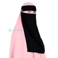 Niqab Bandana Pulldown Sifon Silk Jetblack Alsyahra Exclusive