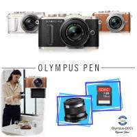 Olympus PEN E-PL8 Kit M.Zuiko 14-42mmEZ dan 45mm - Brown, Free SD16GB