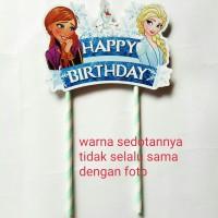 topper hiasan kue cake tart ulang tahun happy birthday karakter frozen