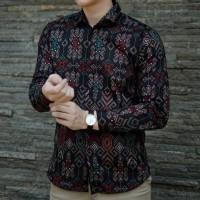 Best Seller Kemeja Batik Songket Pria Lengan Panjang / Baju Formal