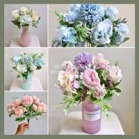 Bunga Palsu Plastik PomPom Peony Hydrangea Rose Artificial Flower - WHITE